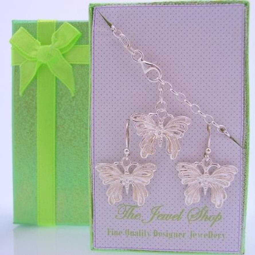 STERLING SILVER MATCHING 18mm BUTTERFLY CHARM BRACELET & EARRINGS GORGEOUS SHIMMERING GIFT BOX