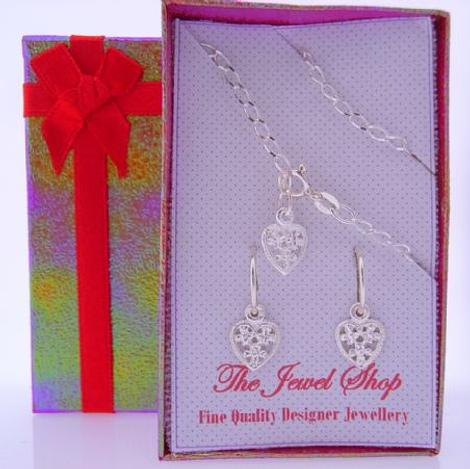 STERLING SILVER MATCHING 9mm FILIGREE HEART CHARM BRACELET & EARRINGS GORGEOUS SHIMMERING GIFT BOX