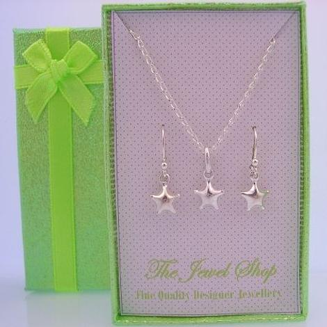 STERLING SILVER MATCHING 7mm STAR EARRINGS & NECKLACE GORGEOUS SHIMMERING GIFT BOX