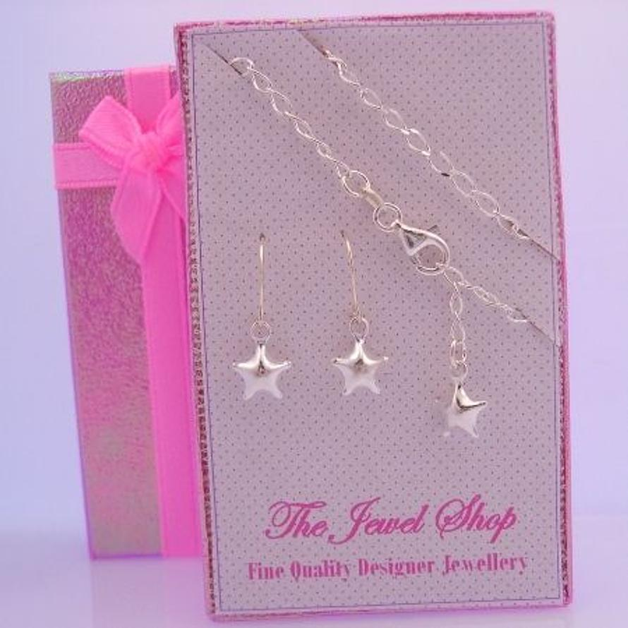 STERLING SILVER MATCHING STAR CHARM BRACELET & EARRINGS GORGEOUS SHIMMERING GIFT BOX