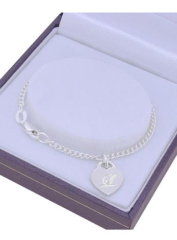 STERLING SILVER 9.5mm HEART TAG CHARM CURB BABY CHILD BRACELET