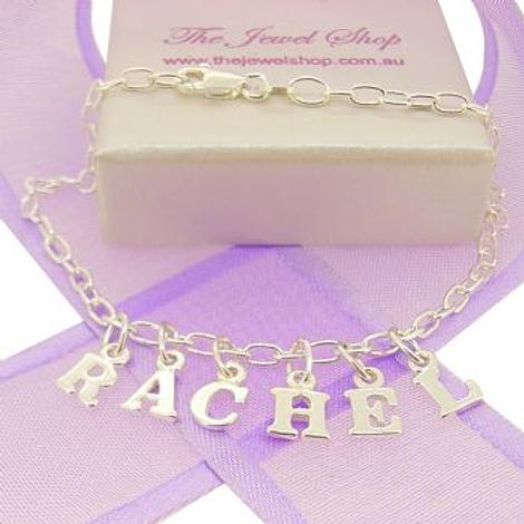Personalised Identity Charm Name Bracelet in Sterling Silver