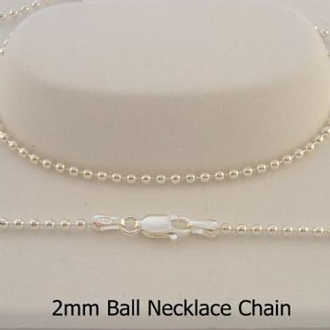 STERLING SILVER 2mm BALL CHAIN NECKLACE