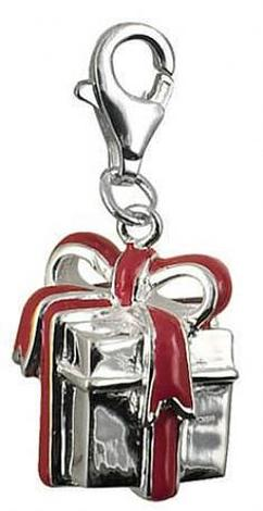 STERLING SILVER 10mm GIFT PRESENT RED BOW CLIP ON CHARM - JCV8