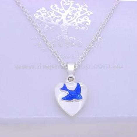 STERLING SILVER 10mm PUFFED HEART BLUEBIRD CHARM NECKLACE