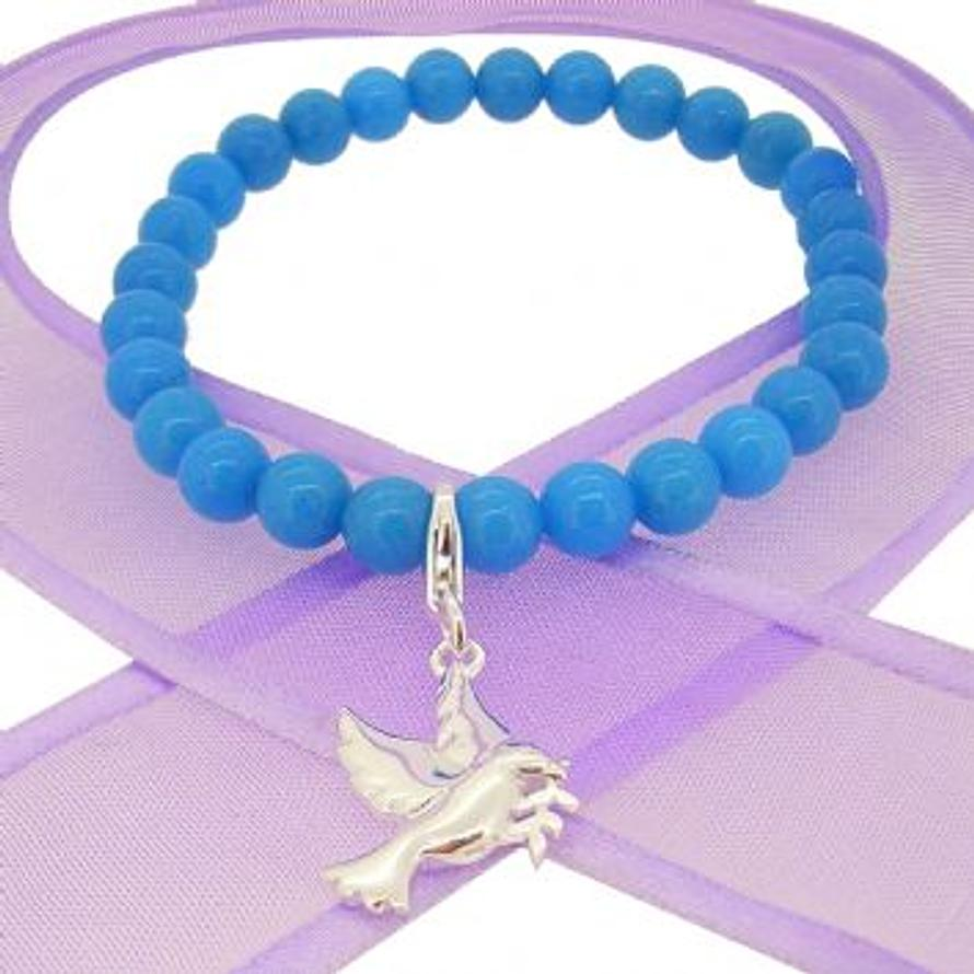 6mm BEADED STERLING SILVER CHARM BRACELET Dove of Peace