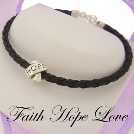 SILVER LOVELINKS FAITH HOPE LOVE BEAD CHARM BLACK LEATHER BRACELET