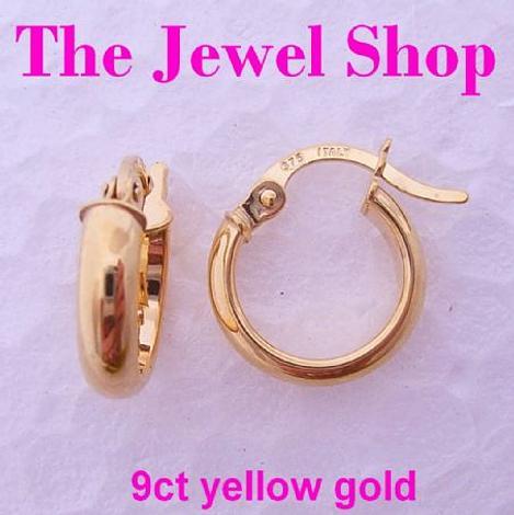 9CT YELLOW GOLD BABY HOOPS HOOP EARRINGS