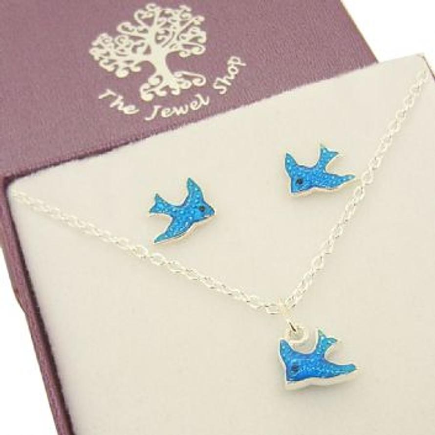 STERLING SILVER BLUE BIRD STUD EARRINGS and NECKLACE SET GIFT BOXED