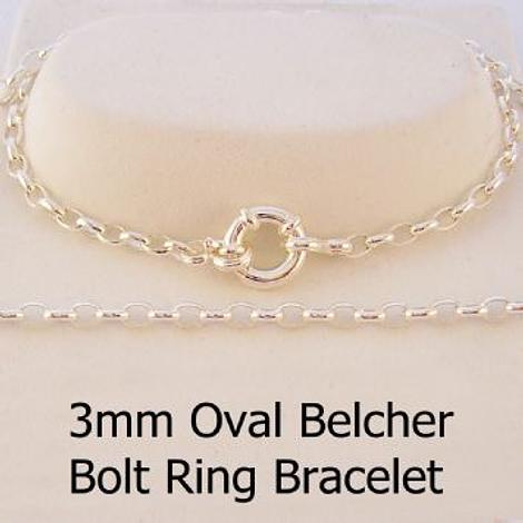 STERLING SILVER 3mm OVAL BELCHER BOLT RING BRACELET