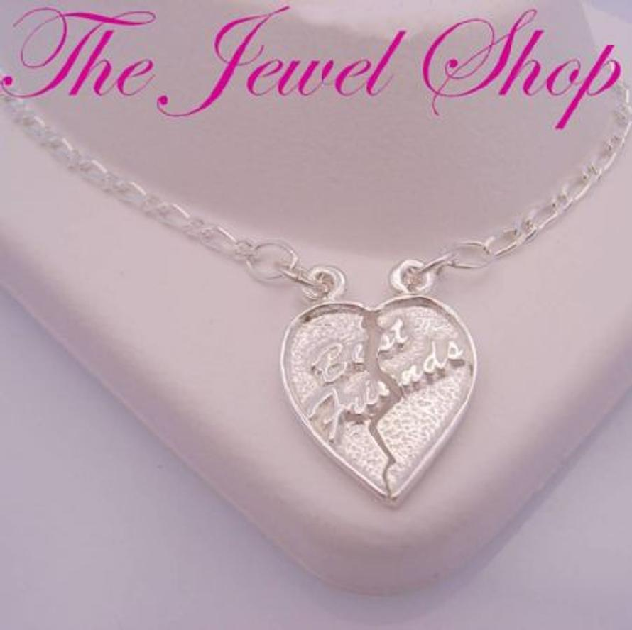 TWO MATCHING STERLING SILVER CHARM ANKLETS WITH A SPLIT BREAK HEART