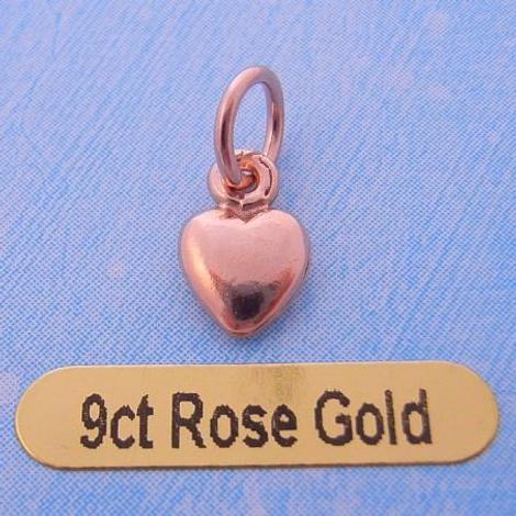 9CT ROSE GOLD 6mm LOVE HEART CHARM