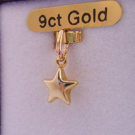9CT GOLD 9CT GOLD 7mm PUFFED LUCKY STAR CHARM
