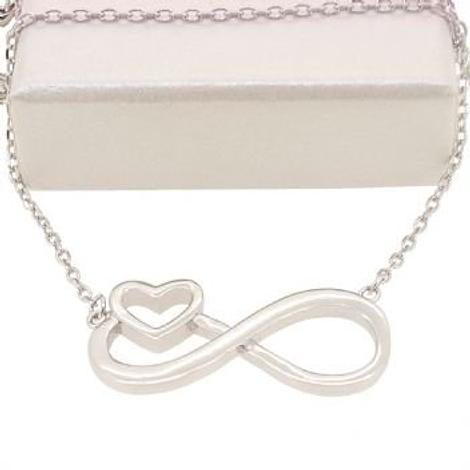 INFINITE LOVE INFINITY HEART CHARM NECKLACE STERLING SILVER