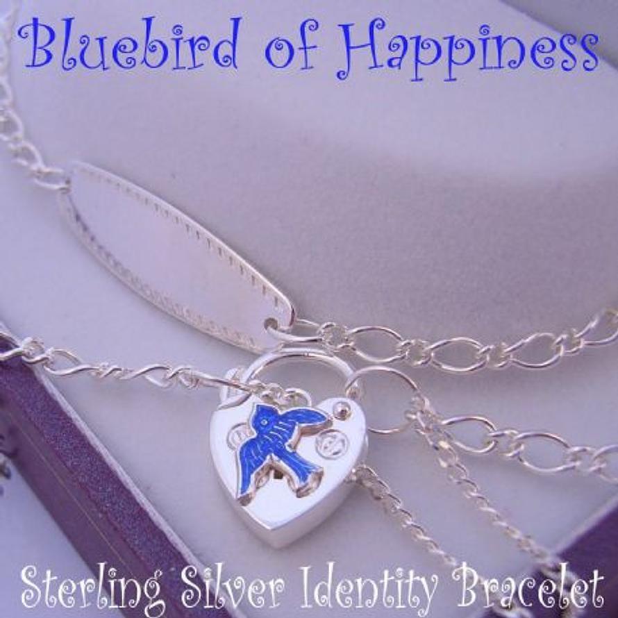STERLING SILVER FIGARO CURB BLUEBIRD of HAPPINESS CHARM IDENTITY PADLOCK BRACELET ADJUSTABLE SIZE 17CM