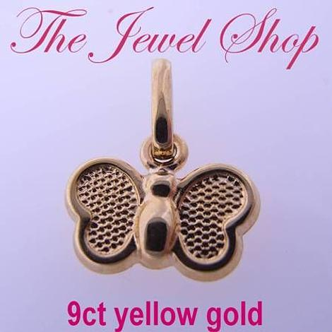9CT YELLOW GOLD 10mm BEAUTIFUL BUTTERFLY CHARM PENDANT