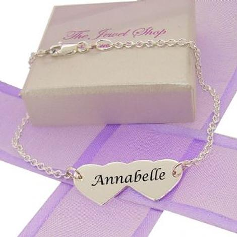 PERSONALISED STERLING SILVER 11mm x 25mm LOVE HEARTS IDENTITY NAME BRACELET