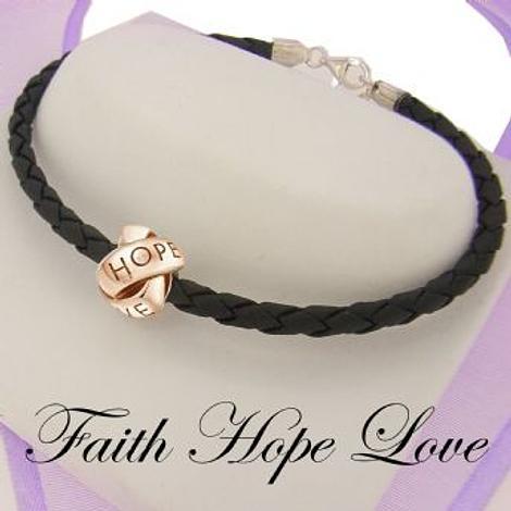GOLD LOVELINKS FAITH HOPE LOVE BEAD CHARM BLACK LEATHER BRACELET