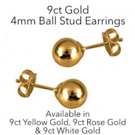 9CT GOLD 4mm BALL STUD DESIGN EARRINGS
