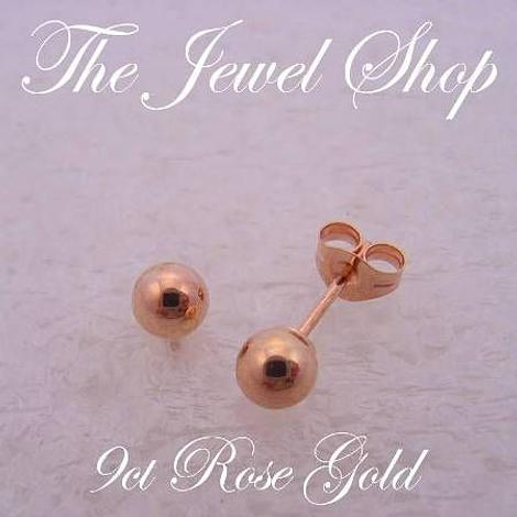 9CT ROSE GOLD 4mm BALL STUD EARRINGS