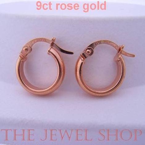 9CT ROSE GOLD BABY HOOPS 11.5mm HOOP EARRINGS