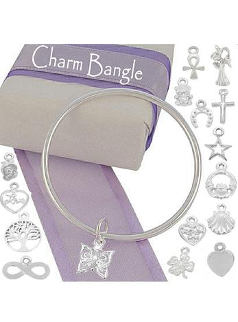 Sterling Silver 2.5mm Round Golf Charm Bangle