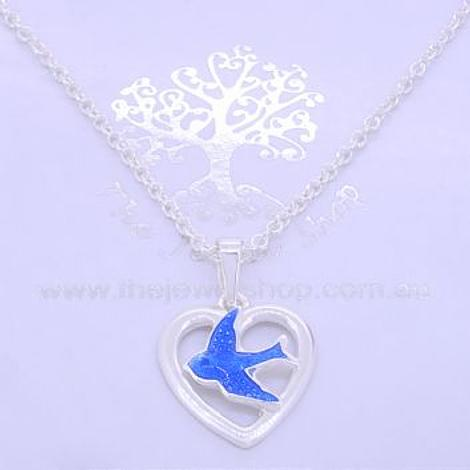 STERLING SILVER 13mm OPEN HEART BLUEBIRD CHARM NECKLACE