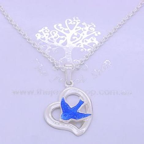 STERLING SILVER 14mm OPEN HEART BLUEBIRD CHARM NECKLACE