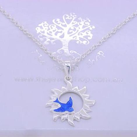 STERLING SILVER You are my Sunshine BLUEBIRD CHARM NECKLACE