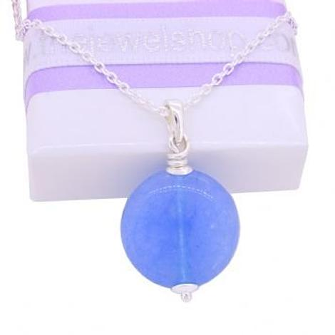 STERLING SILVER CABOCHON BLUE JADE CABLE NECKLACE