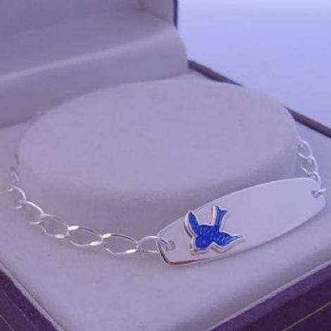 STERLING SILVER BLUEBIRD of HAPPINESS CHARM IDENTITY BRACELET