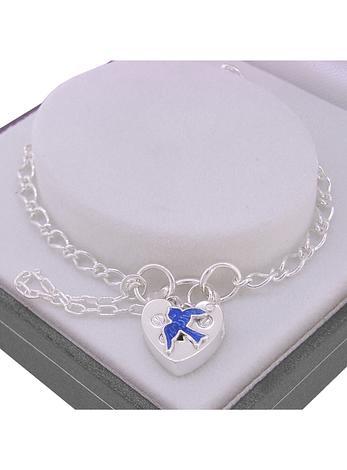 STERLING SILVER HEART BLUEBIRD PADLOCK BRACELET ADJUSTABLE SIZE 19CM