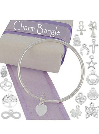 Sterling Silver 3mm Round Golf Charm Bangle