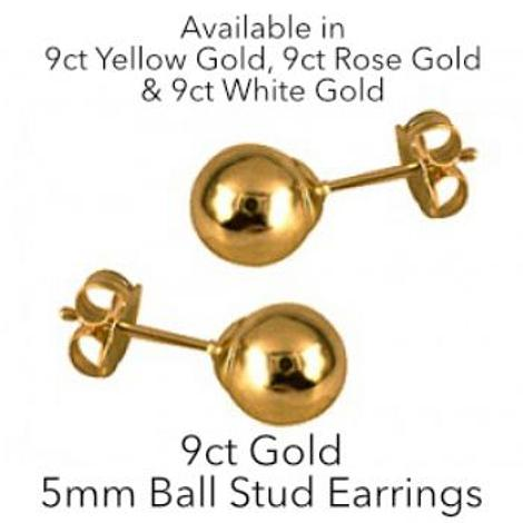 9CT GOLD 5mm BALL STUD DESIGN EARRINGS