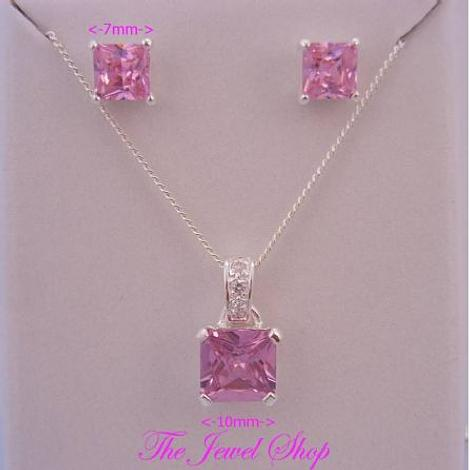 PINK CZ PRINCESS CUT STERLING SILVER NECKLACE PENDANT & EARRING SET