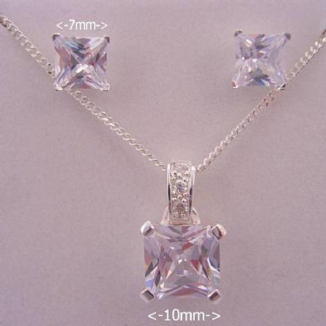 CZ PRINCESS CUT STERLING SILVER NECKLACE PENDANT & EARRING SET