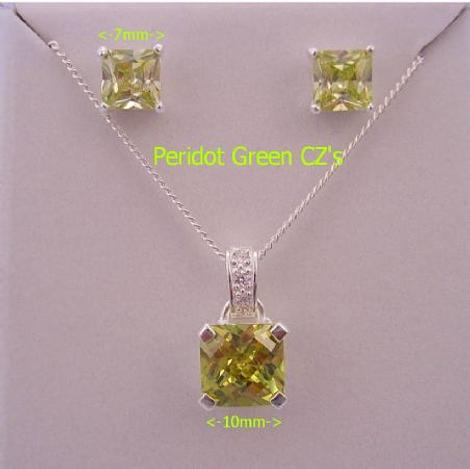 PERIDOT COLORED CZ PRINCESS CUT STERLING SILVER NECKLACE PENDANT & EARRING SET
