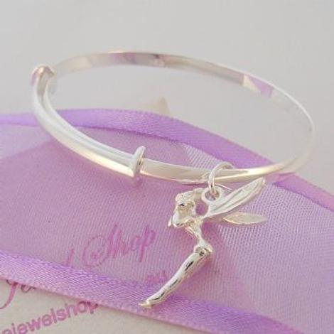 STERLING SILVER EXPANDABLE BANGLE WITH TINKERBELL CHARM Available in all sizes