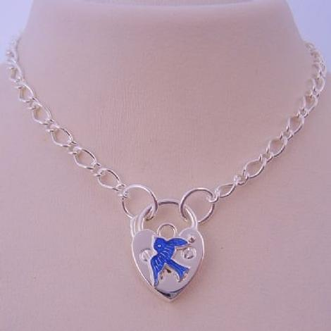 BLUEBIRD STERLING SILVER HEART PADLOCK NECKLACE 45CM