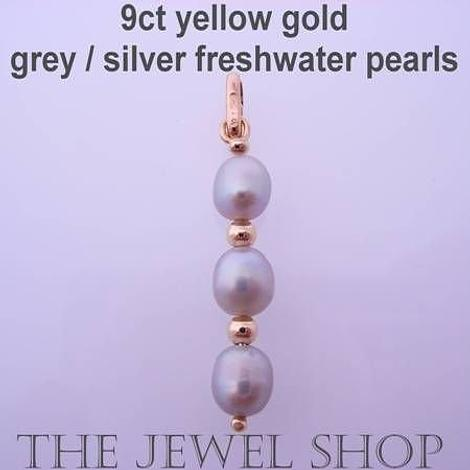 9CT YELLOW GOLD 2mm BALL BEADS 6mm x 4mm SILVER/GREY FRESHWATER PEARL PENDANT