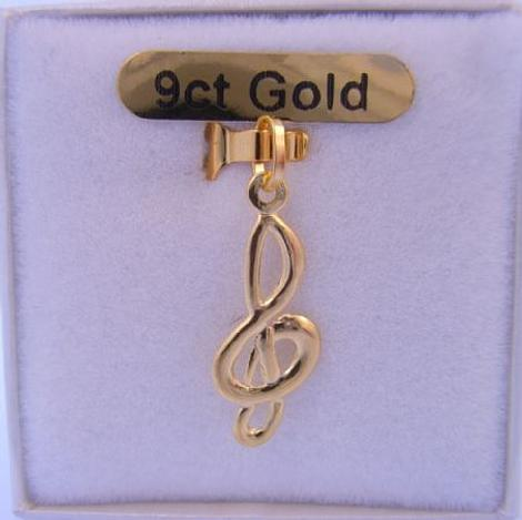 9CT GOLD MUSICAL NOTE MUSIC TREBBLE CLEF CHARM PENDANT