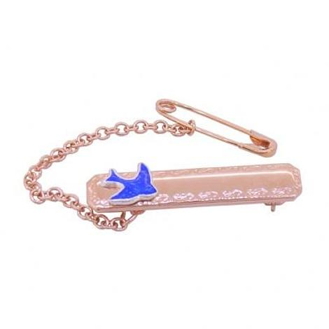 HARD ROSE GOLD PLATED STERLING SILVER BLUEBIRD of HAPPINESS BABY BROOCH