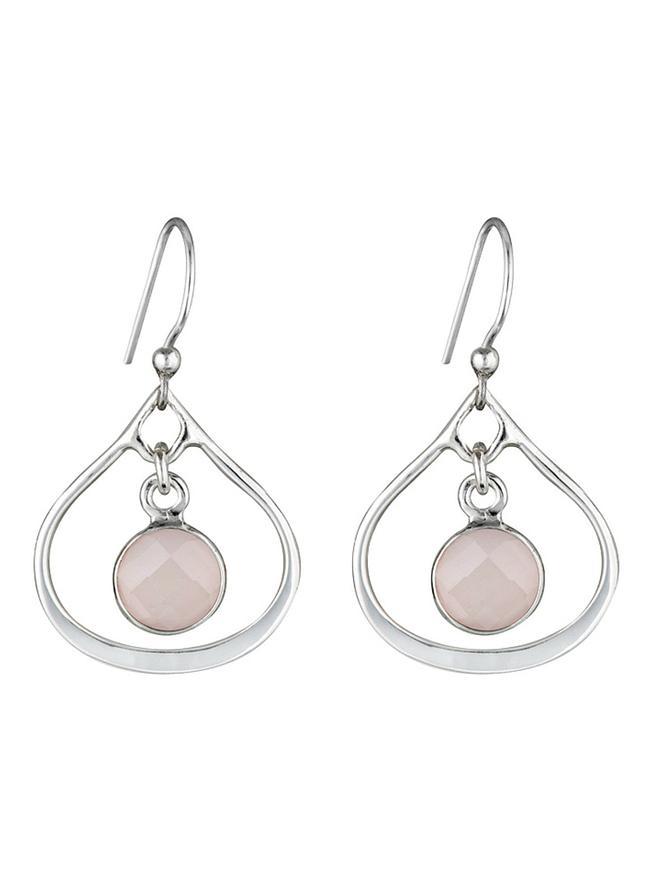 Silver Selene Mini Stone Earrings Soft Rose Quartz