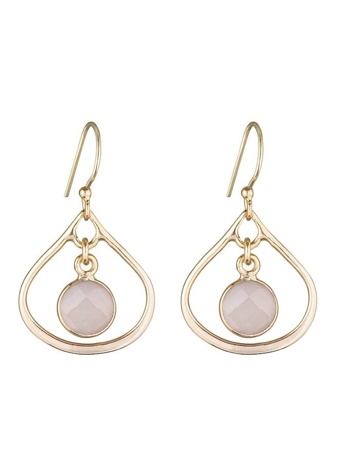 Soft Gold Selene Mini Stone Earrings Soft Rose Quartz