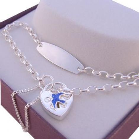 STERLING SILVER IDENTITY CHARM BELCHER BLUEBIRD of HAPPINESS PADLOCK BRACELET