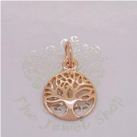 SOLID 9CT ROSE GOLD 12mm TREE OF LIFE CHARM PENDANT