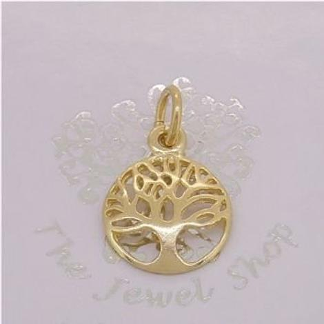SOLID 9CT GOLD 12mm TREE OF LIFE CHARM PENDANT