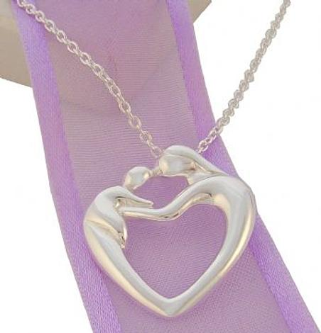 STERLING SILVER MOTHER AND BABY PENDANT NECKLACE
