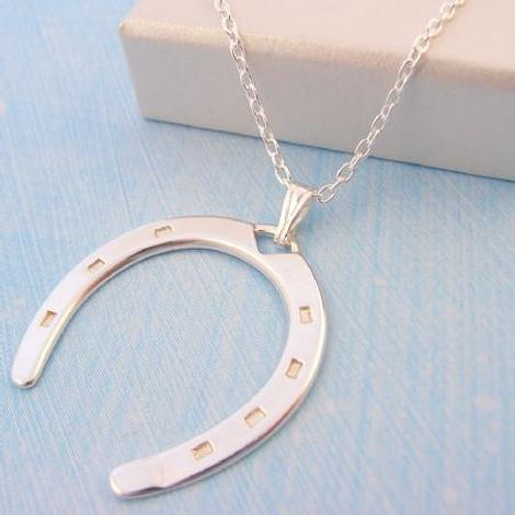 STERLING SILVER LARGE 25mm HORSESHOE NECKLACE CHARM PENDANT