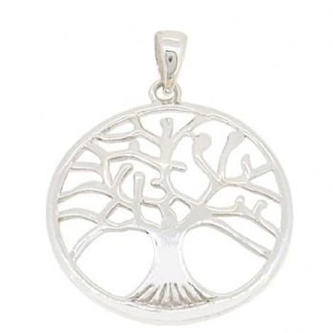 STERLING SILVER TREE OF LIFE CHARM PENDANT CABLE NECKLACE